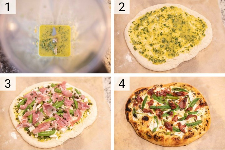 process shots of how to make spring pizza