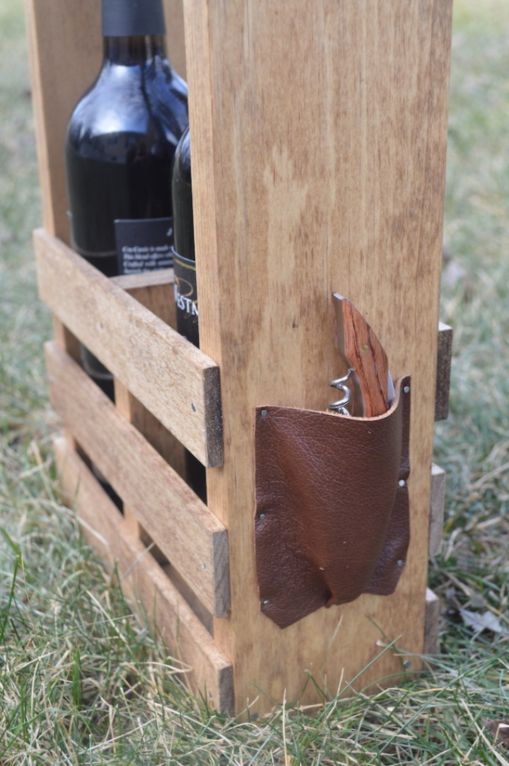 close-up of pouch with wine bottle opener