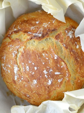 overhead shot of no-knead dutch oven bread