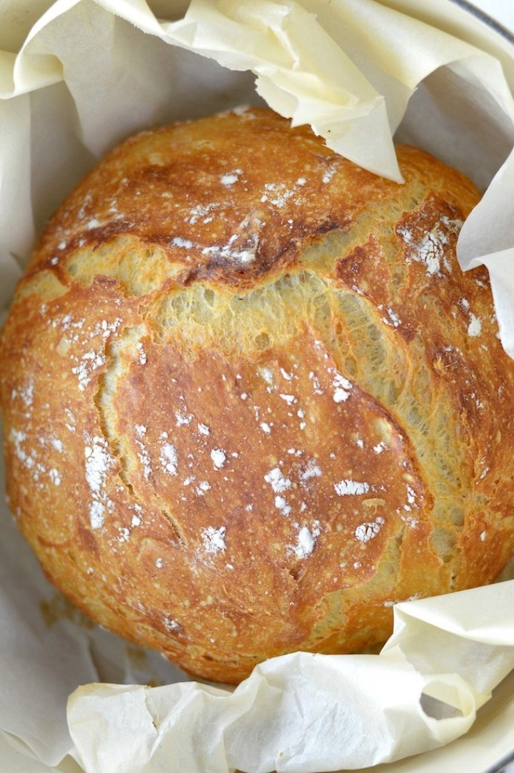 overhead shot of no-knead bread in dutch oven