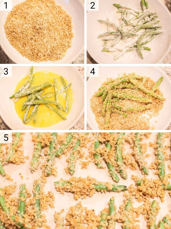 process shots of how to make crispy green beans