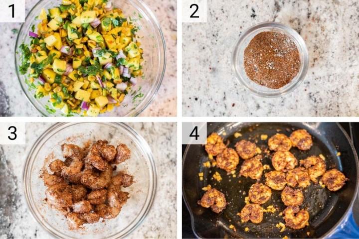 process shots of how to make shrimp tacos