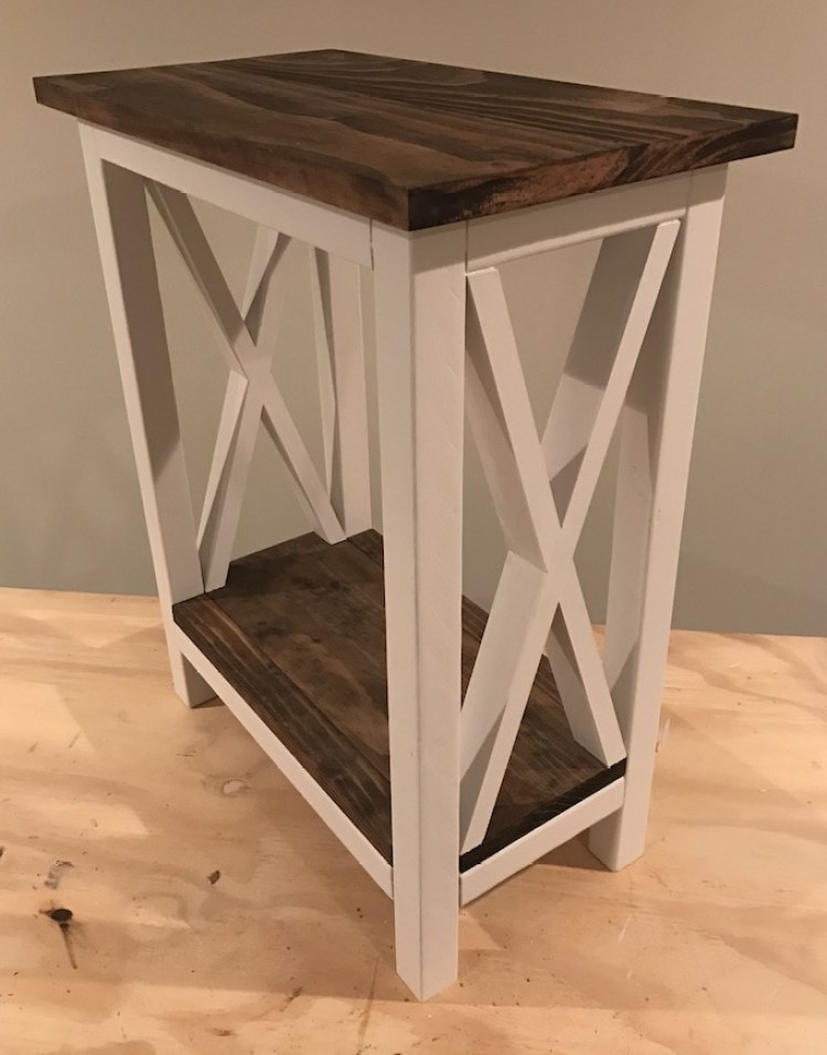 X Side Table painted and stained