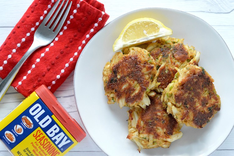 Overhead of Baltimore crab cake recipe with Old Bay seasoning