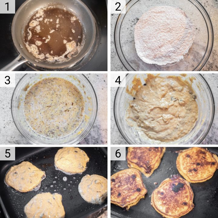process shots of how to make pumpkin chocolate chip pancakes