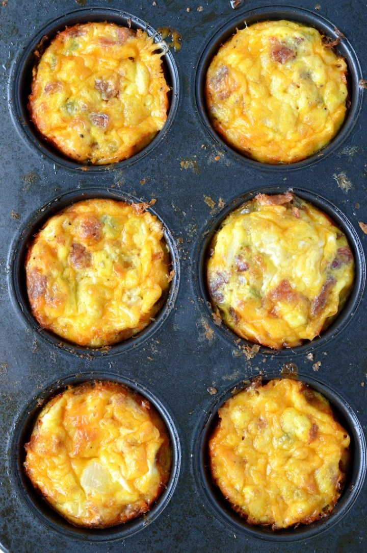 overlay of hash brown egg muffins in muffin tin