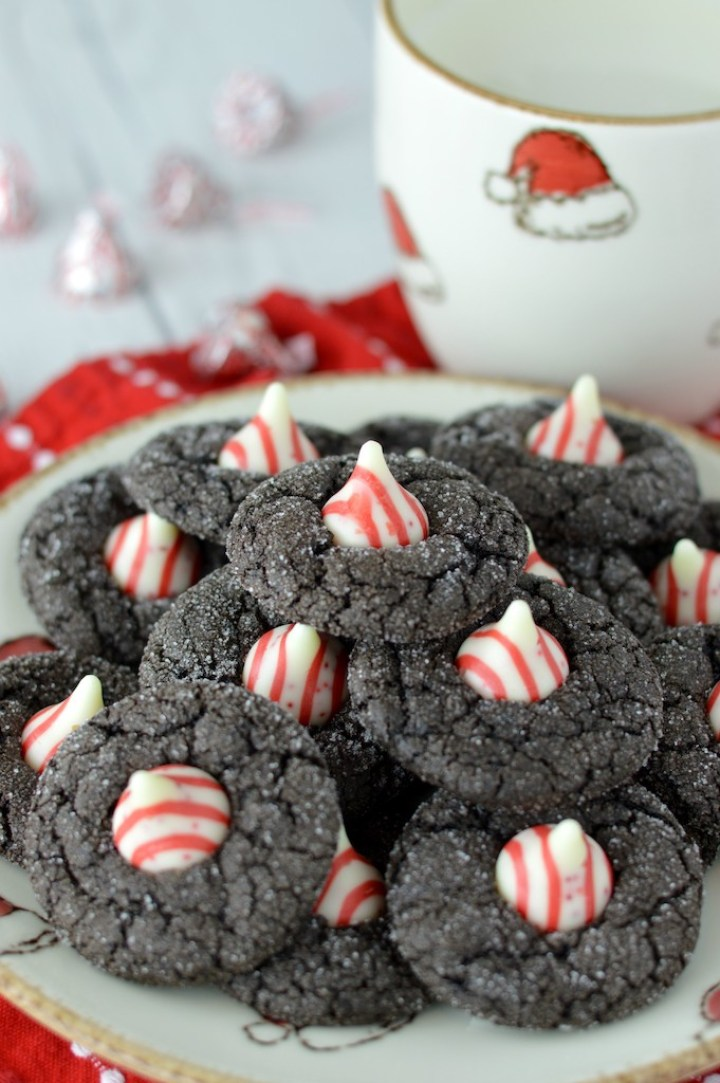 close-up of chocolate peppermint blossoms on plate