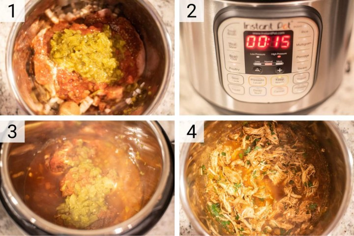 process shots of how to make chicken tacos in pressure cooker