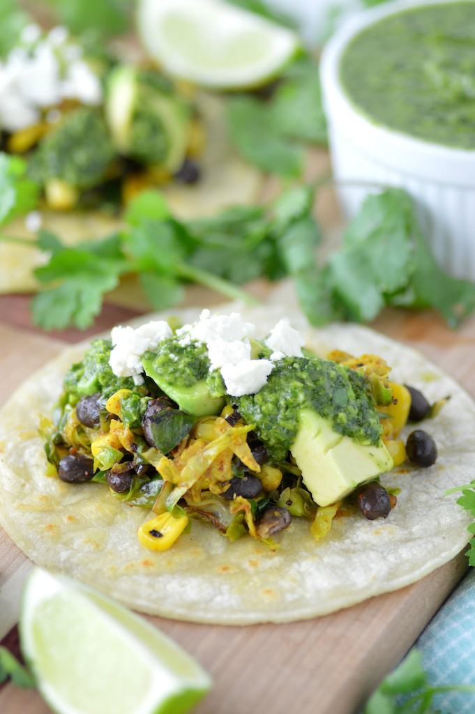 brussels sprouts tacos on cutting board
