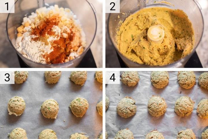 process shots of how to make buffalo falafel
