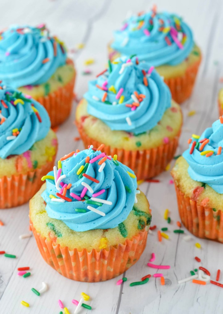close-up of homemade funfetti cupcakes
