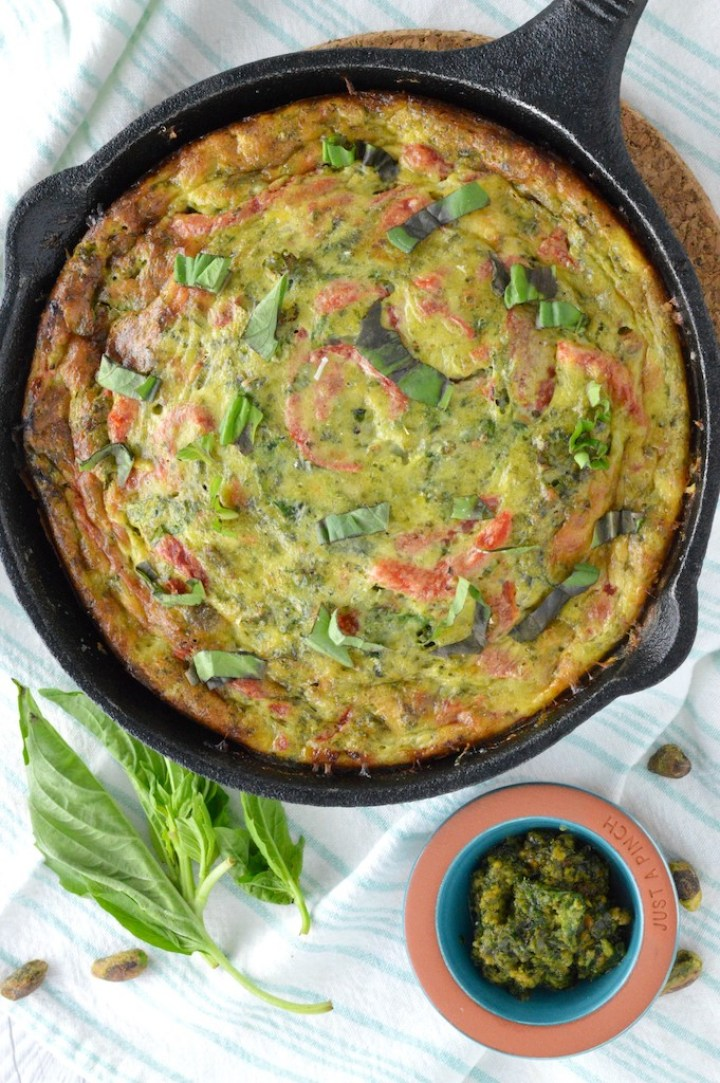 overhead shot of kale frittata in cast iron skillet