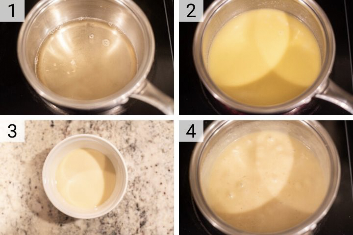 process shots of how to make cheese fondue