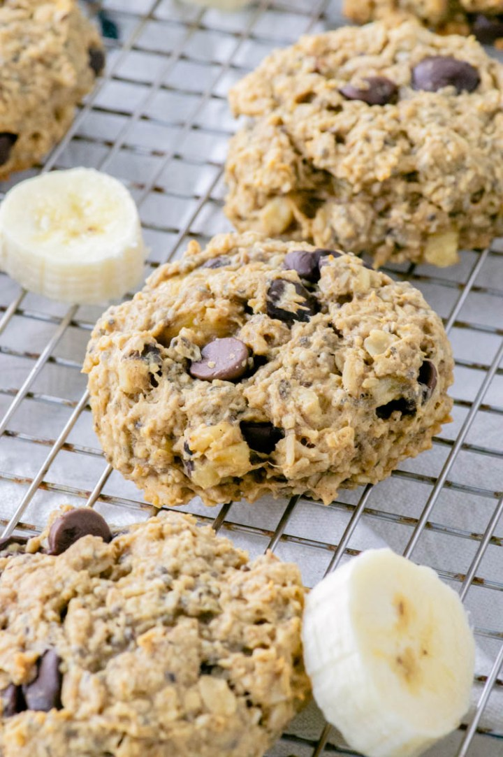 overhead shot of chocolate peanut butter banana breakfast cookies on cooling rack