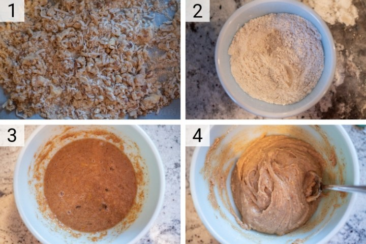 process shots of how to make almond butter donuts