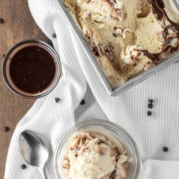 overhead shot of malted cookie dough ice cream in glass bowl and loaf pan
