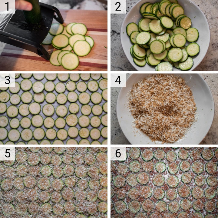 process shots of how to make parmesan zucchini chips