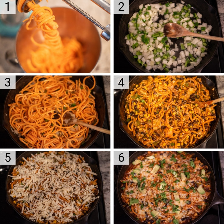 process shots of how to make spiralized sweet potato enchilada skillet