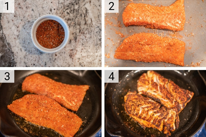 process shots of how to make blackened cod