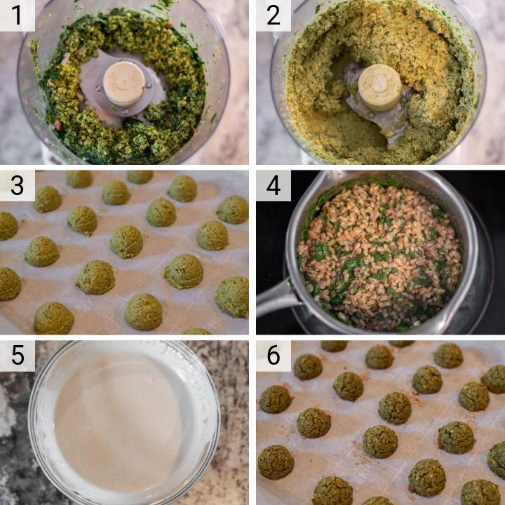 process shots of how to make falafel bowls