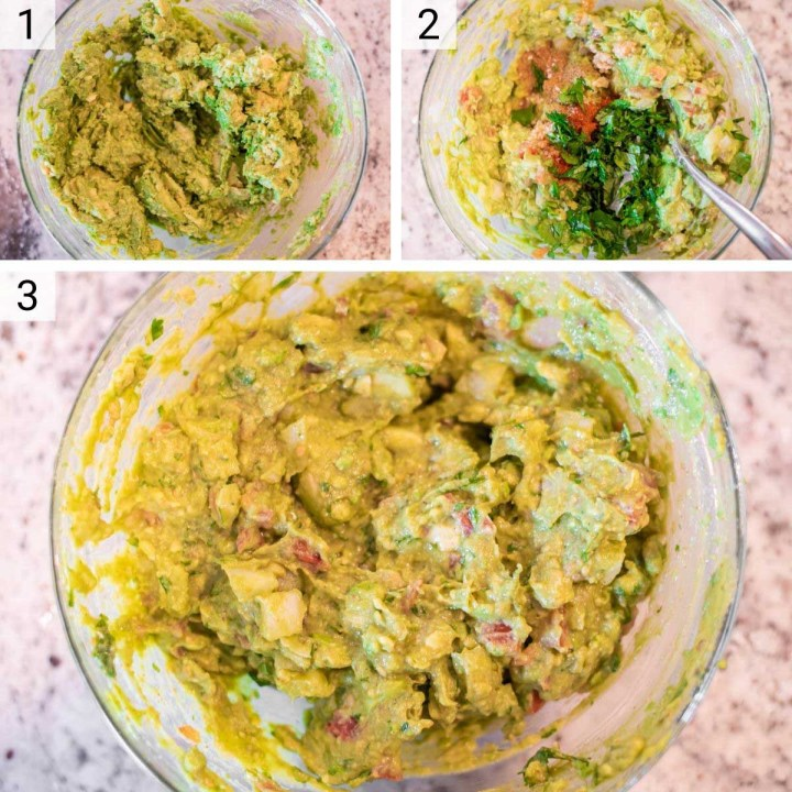 process shots of how to make homemade guacamole
