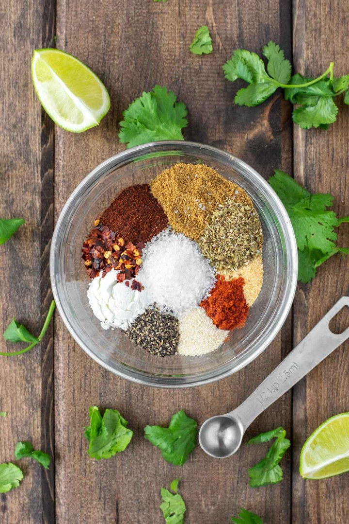 overhead shot of spices in glass bowl
