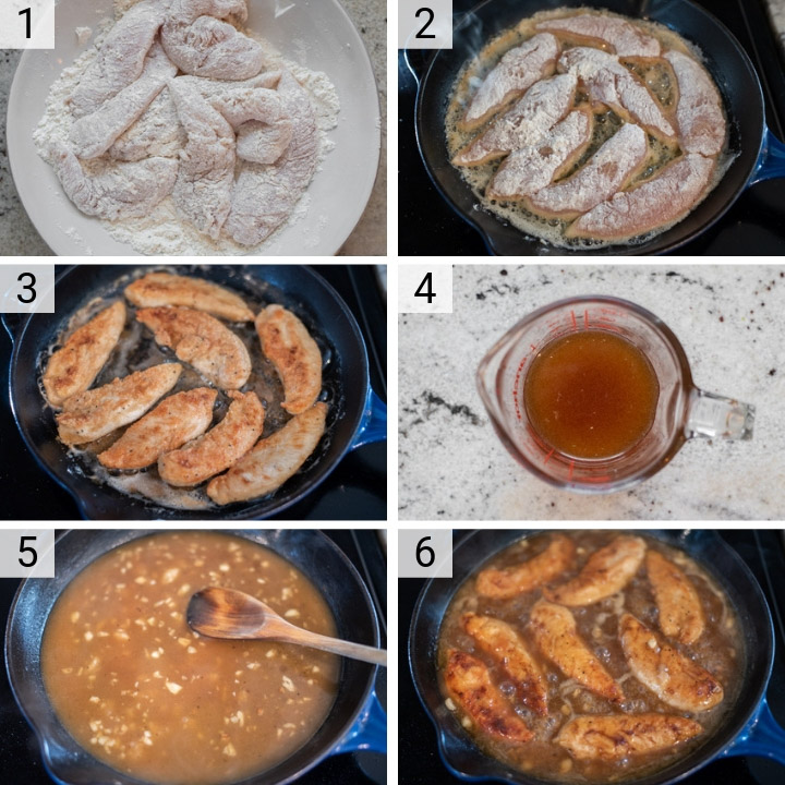 process shots of how to make honey lemon chicken