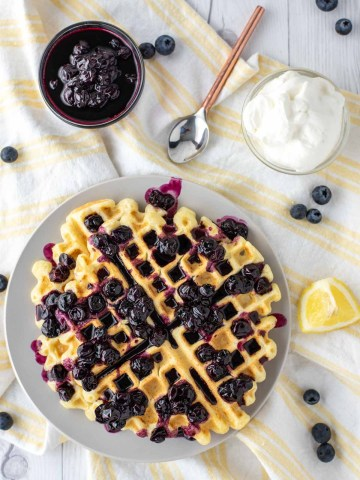 overhead shot of lemon ricotta waffles
