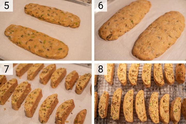 process shots of how to make orange pistachio biscotti