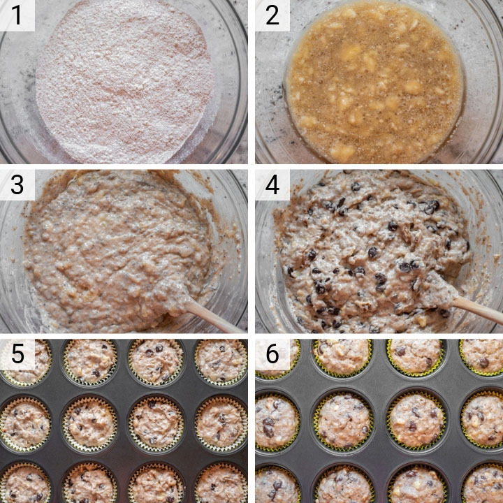 process shots of how to make vegan banana chocolate chip muffins