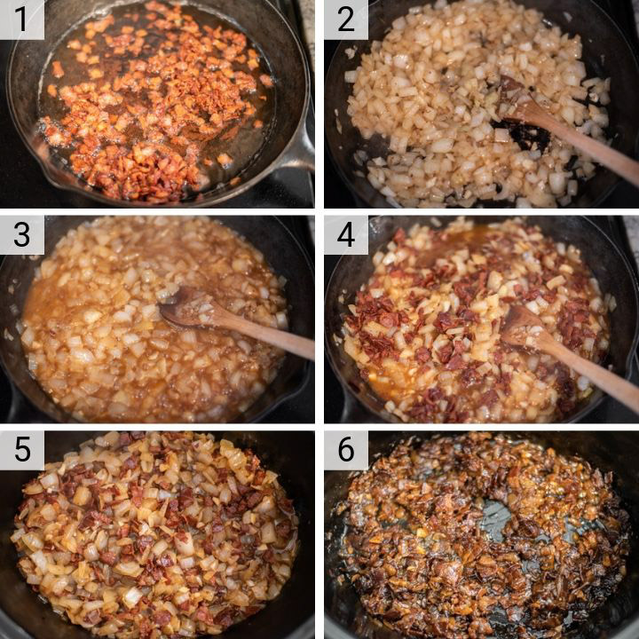 process shots of how to make bacon jam