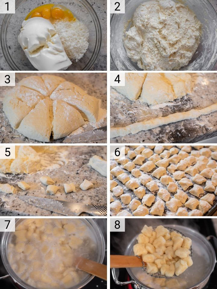 process shots of how to make ricotta gnocchi