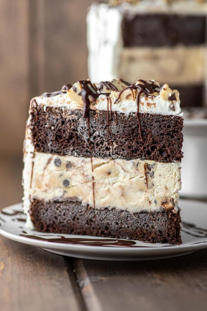 slice of cookie dough ice cream cake on plate