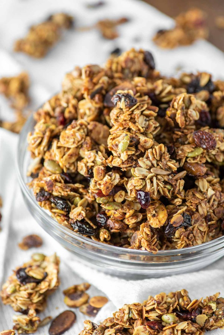 fruit and nut granola in glass bowl