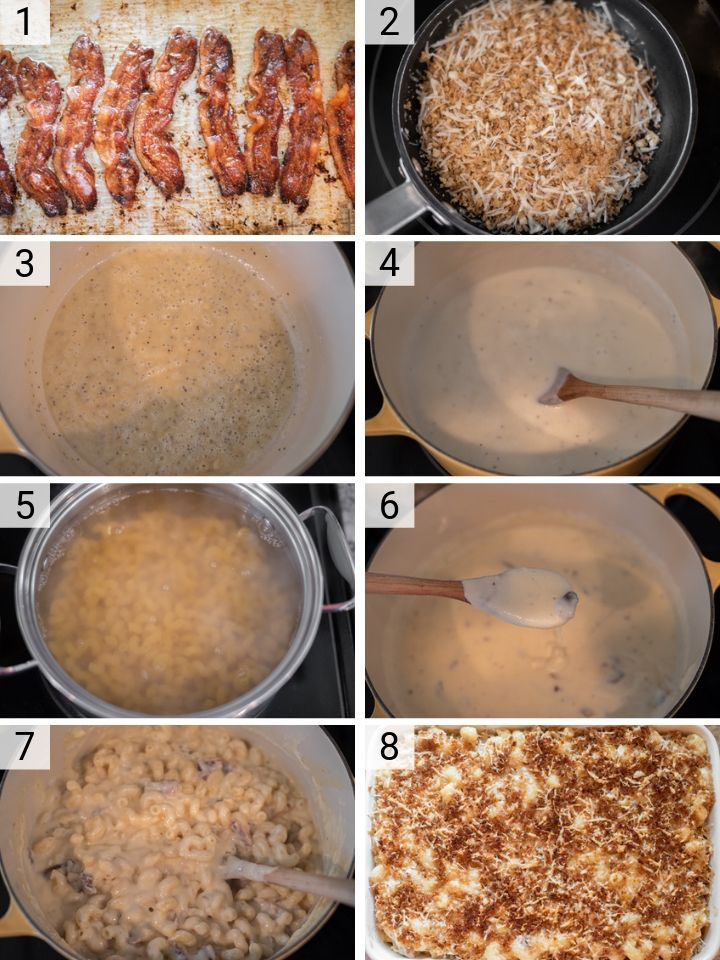 process shots of how to make smoked gouda bacon mac and cheese