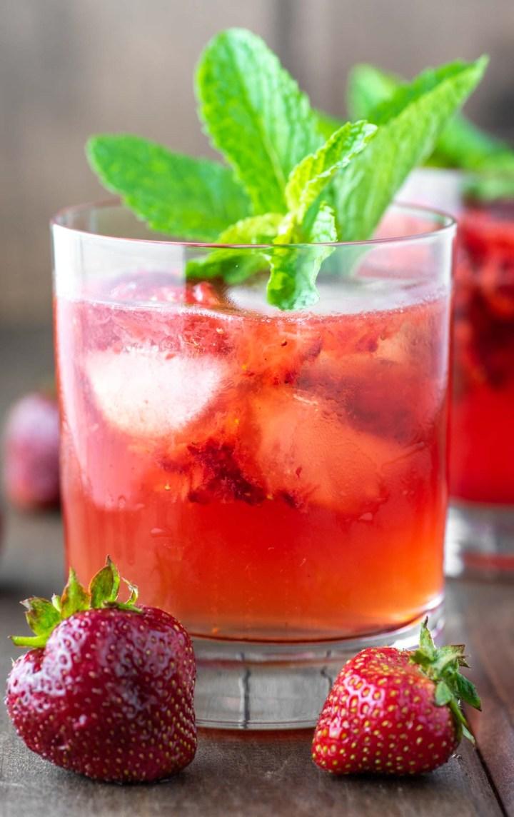 strawberry gin smash in glass