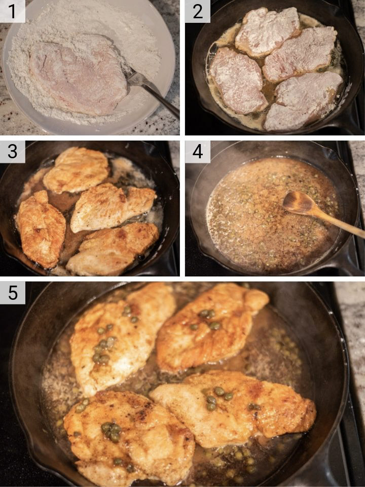 process shots of how to make chicken piccata