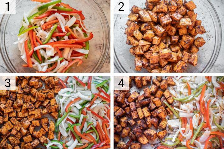 process shots of how to make vegetarian burrito bowls
