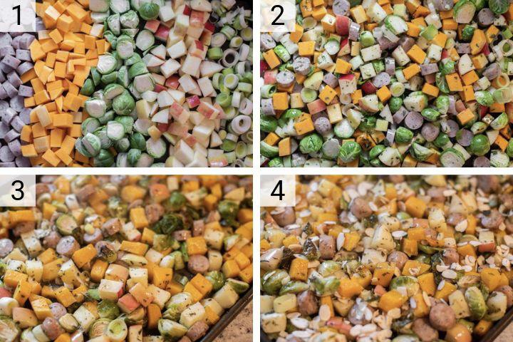 process shots of how to make autumn sheet pan sausage and veggies