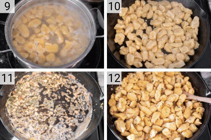 process shots of how to make butternut squash gnocchi