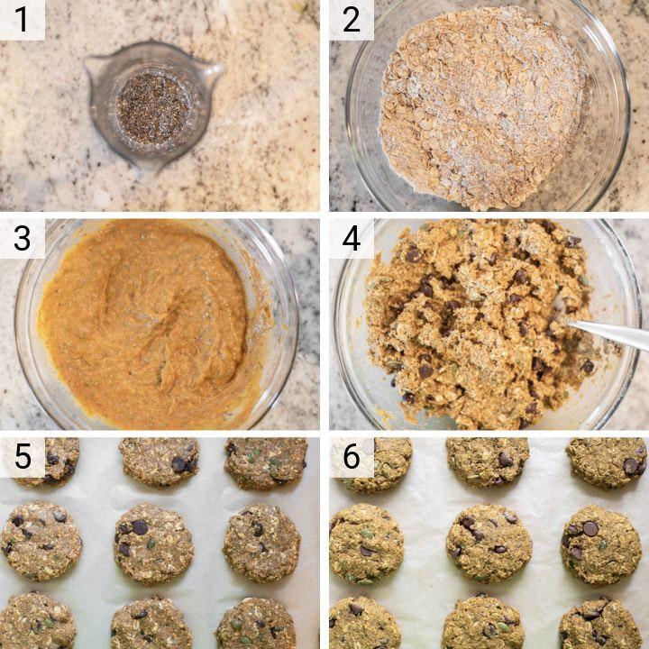 process shots of how to make pumpkin breakfast cookies