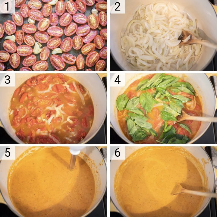 process shots of how to make roasted tomato basil soup