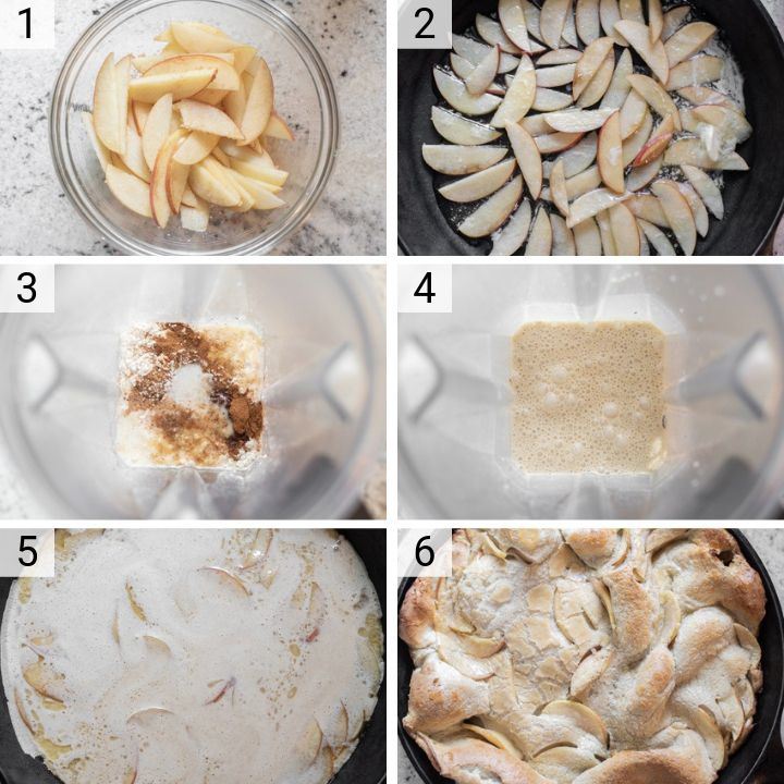 process shots of how to make apple dutch baby