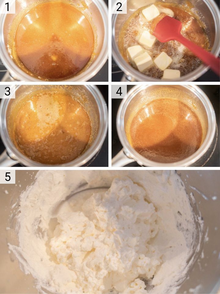 process shots of how to make salted bourbon caramel