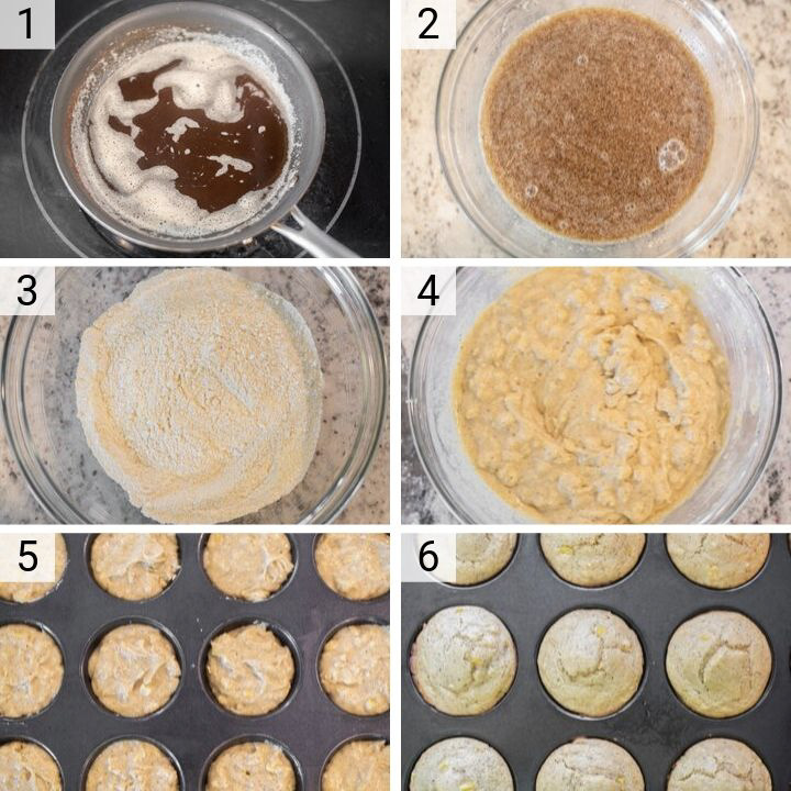 process shots of how to make cornbread muffins
