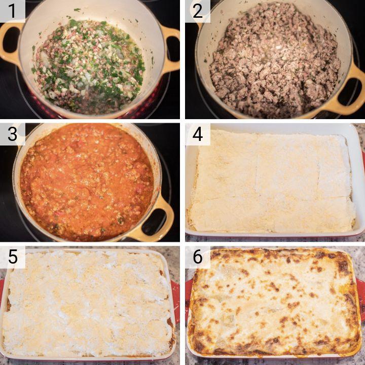 process shots of how to make meat lasagna
