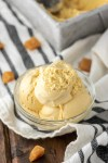 salted caramel ice cream in glass bowl