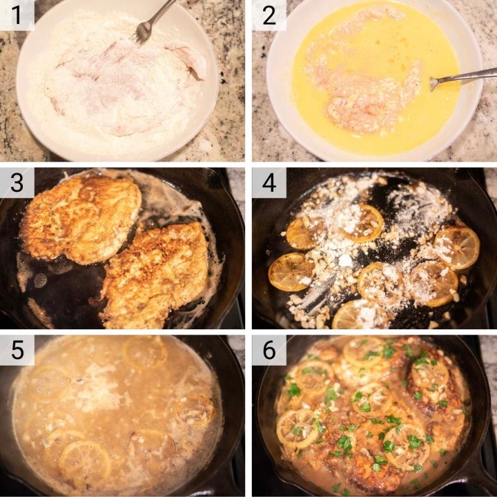 process shots of how to make chicken francese