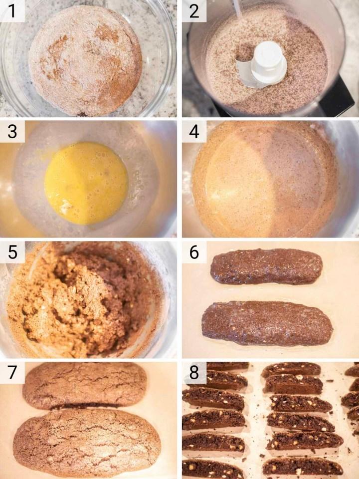 process shots of how to make chocolate biscotti