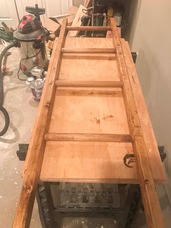 staining DIY blanket ladder